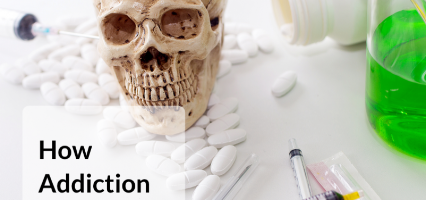 A skeleton, pills, drug and needles indicting the serious consequence of addiction