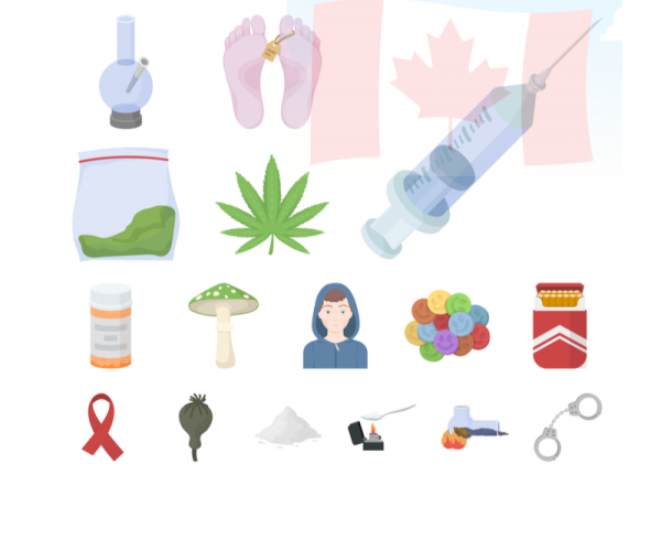 Different drugs and Canada flag