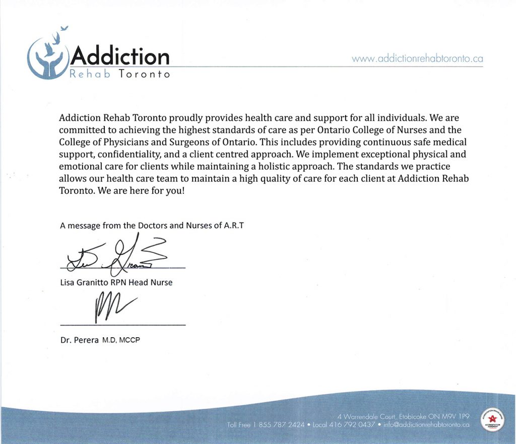 Letter From Our Doctors And Nursing Staff